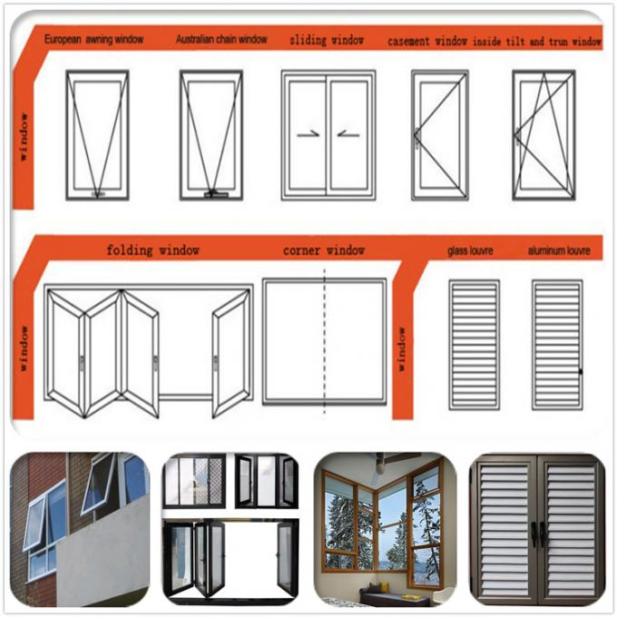 Fireproof Thermal - Break Aluminium Windows And Doors With Clear Glass 0