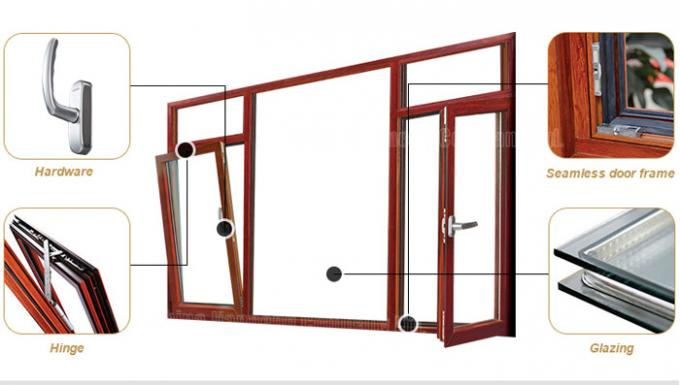 Heat Insulation 6063-T5 Aluminium Windows And Doors With Stainless Steel Security Mesh