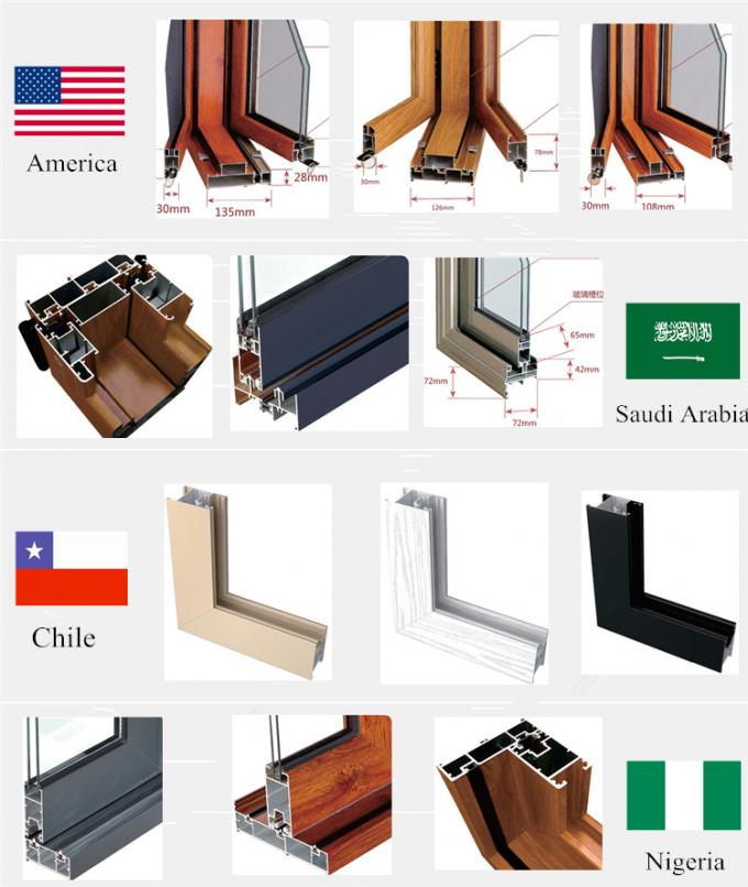 T5 T6 Construction Aluminum Door Profile Corrosion Resistance High Surface Brightness