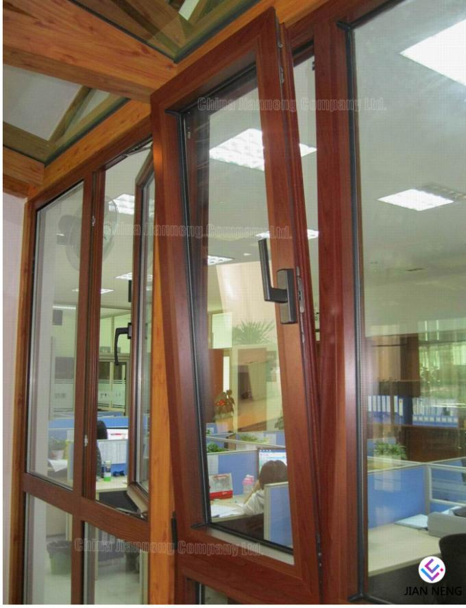 Wooden Grain Aluminium Window Frame Profiles / Aluminium Casement Window Frame