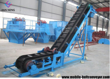 China Flat Inclined Rubber Mobile Conveyor Belt System With Grain Coal Hopper supplier